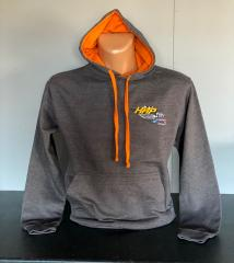 HRP Embroidered Gray Hooded top. Orange toggles and hood lining
