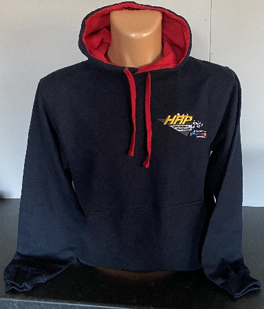 HRP Embroidered Navy Hooded top. Red toggles and hood lining